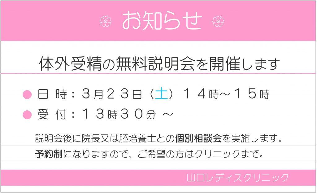 体外受精説明会 2019年3月23 - 名古屋不妊治療 山口レディスクリニック